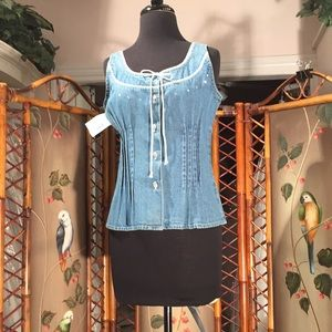 Vintage denim blouse with metal buttons